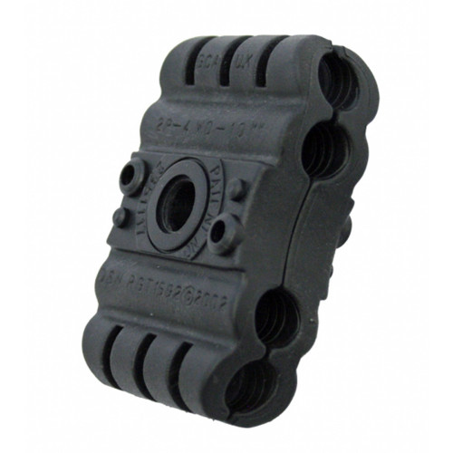 2P-4BW0-10mm Two Piece 4 Way Black Clamp