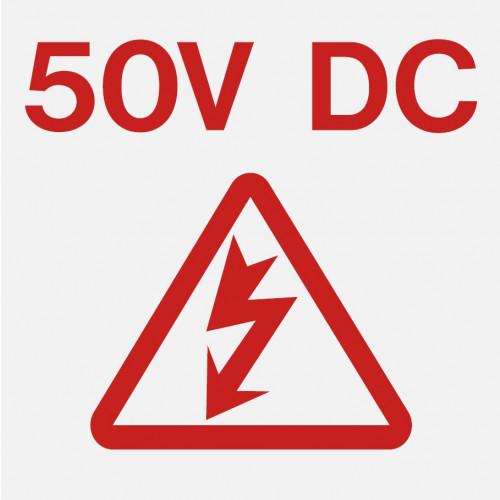 50 volt danger label 40x40 (Red & White) - Each