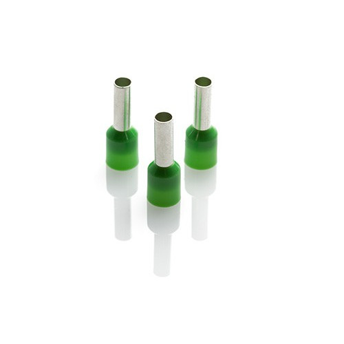 6mm2 Insulated Bootlace Ferrules - Green - Price Each