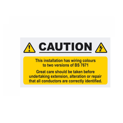 Caution Labels 2 Colour Wiring BS7671 90mm x 50mm