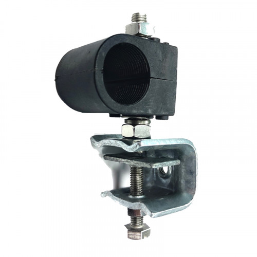 """Black Single Clamp Assembly for 1 x 1 1/4"""" Feeder Runs - to suit Flat or Angle Iron."""