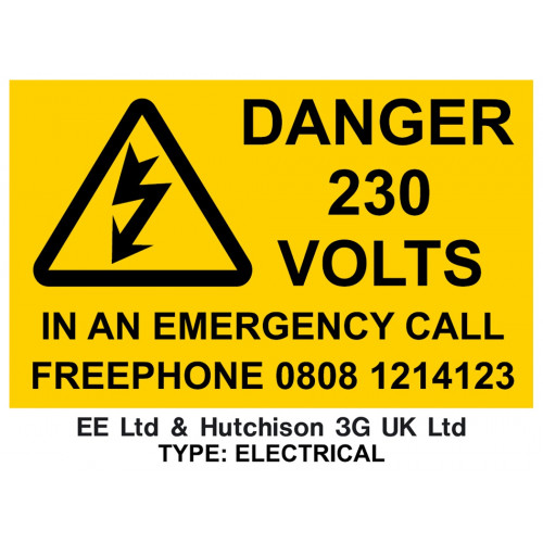 """""""EE & H3G - DANGER 230V – IN AN EMERGENCY CALL"""" - 120mm x90mm - Self-Adhesive Stickers"""