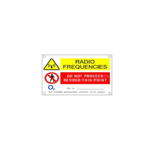 O2 'Sign B' Radio Frequencies - 85mm x 70mm x 1mm PVC