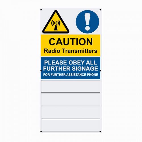 Caution Radio Transmitters - 180mm x 360mm x 1mm PVC