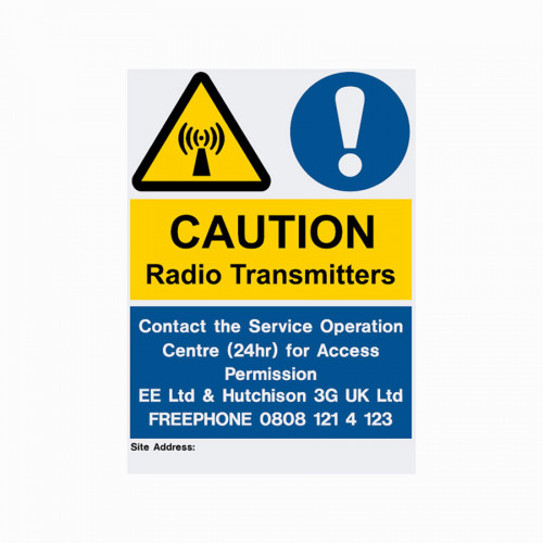 Caution Radio Transmitters - 100mm x 200mm - Self Adhesive (Streetworks)
