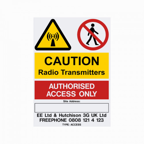 EE H3G Access Sign 210mm x 297mm x 1mm PVC + Self Adhesive rear