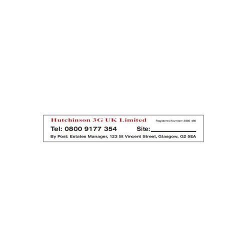 Hutchinson Site Reference Sticker - 165mm x 30mm - adhesive