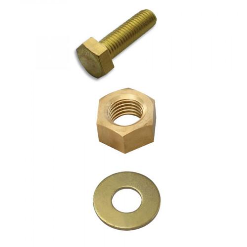 M6x30mm Set Screw Brass, hex full nut & Form A Washers Brass