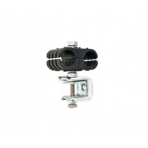 """Black Double Clamp Assembly for 2 x 1 1/4"""""""" Feeder Runs - to suit Flat or Angle Iron."""