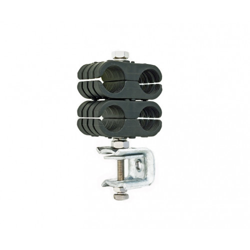 """Black Double Clamp Assembly for 4 x 1 1/4"""""""" Feeder Runs - to suit Flat or Angle Iron."""